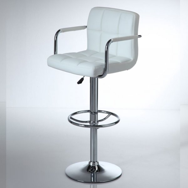 Miami Gas Lift Leatherette Bar Stool In White
