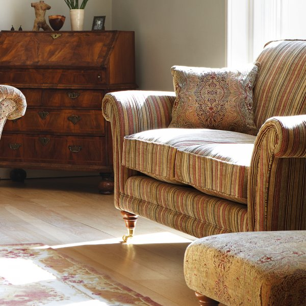 Burghley 2 Seater Sofa In Baslow Stripe Gold