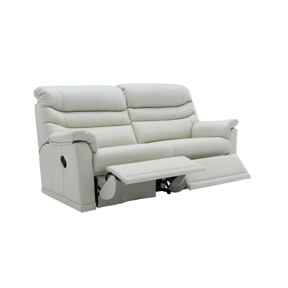 G Plan Malvern 3 Seater Leather Manual Recliner Sofa - 2 Seat Cushions