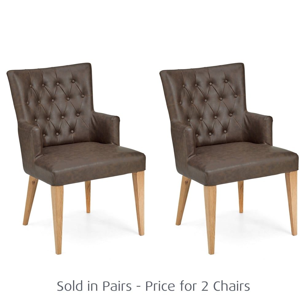 Magnificent Minerva Pair Of Highfield Brown Leather Button Back Oak Dining Armchairs Pdpeps Interior Chair Design Pdpepsorg