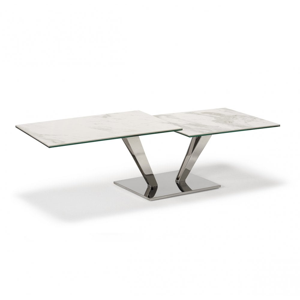 Kesterport Arundel Marble Ceramic Top Coffee Table Marble Effect Stainless Frame
