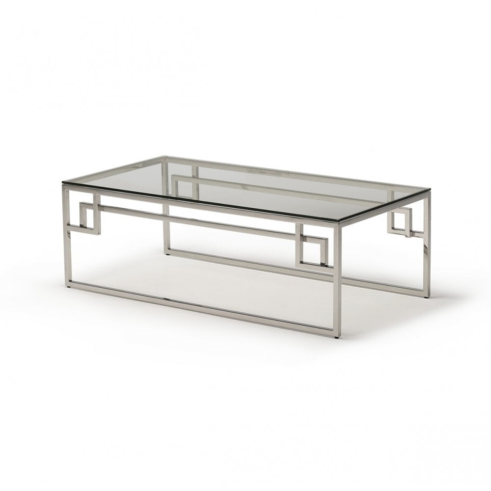 Kesterport Cendrine Glass Coffee Table Glass Polished Stainless Steel