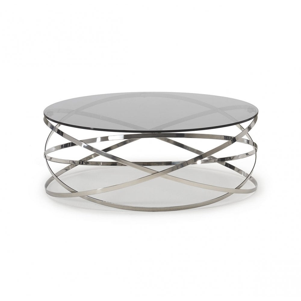 Kesterport Colorado Circular Glass Coffee Table Polished Stainless