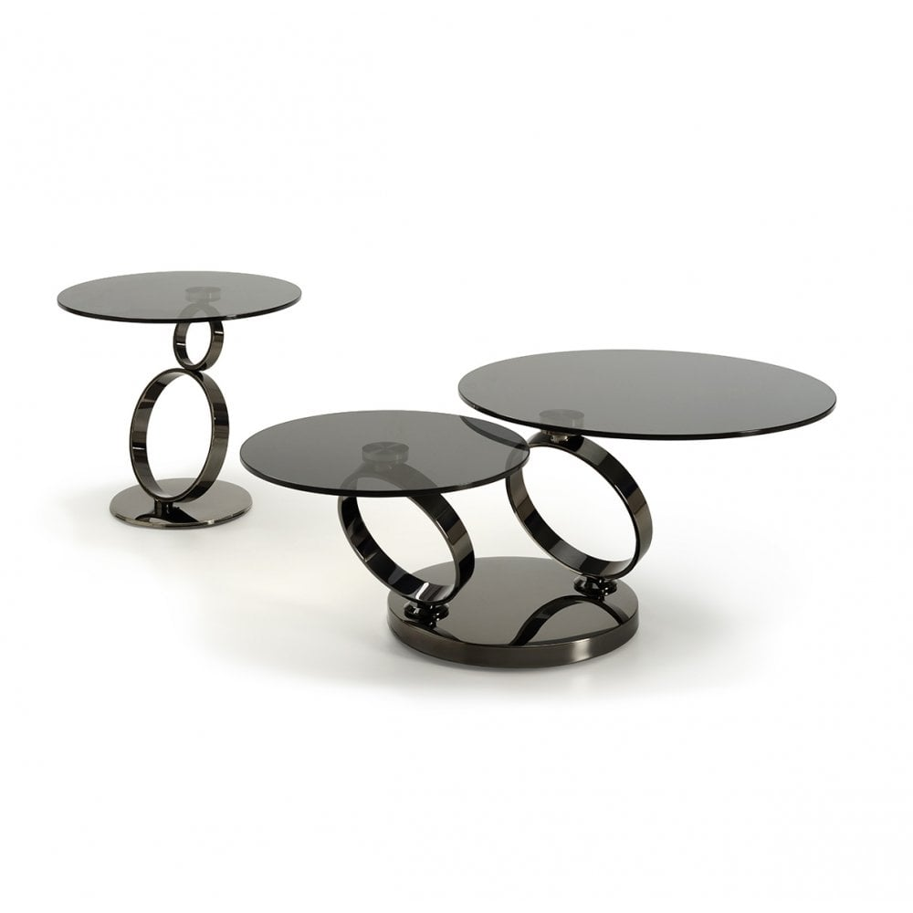bb6bb3245009 Kesterport Geo Glass Coffee Table - Grey Smoked Glass   Black Frame