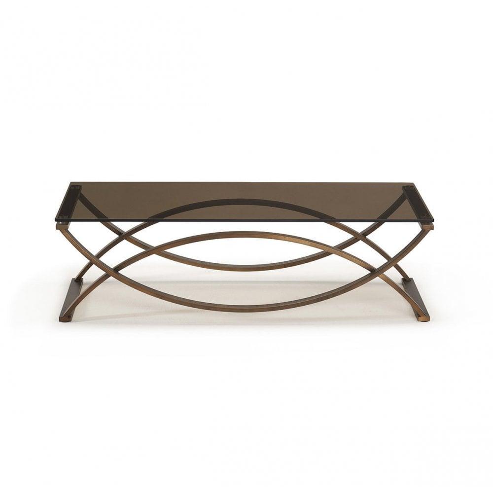 Kesterport Lucerne Glass Coffee Table Bronze Glass Brass Frame