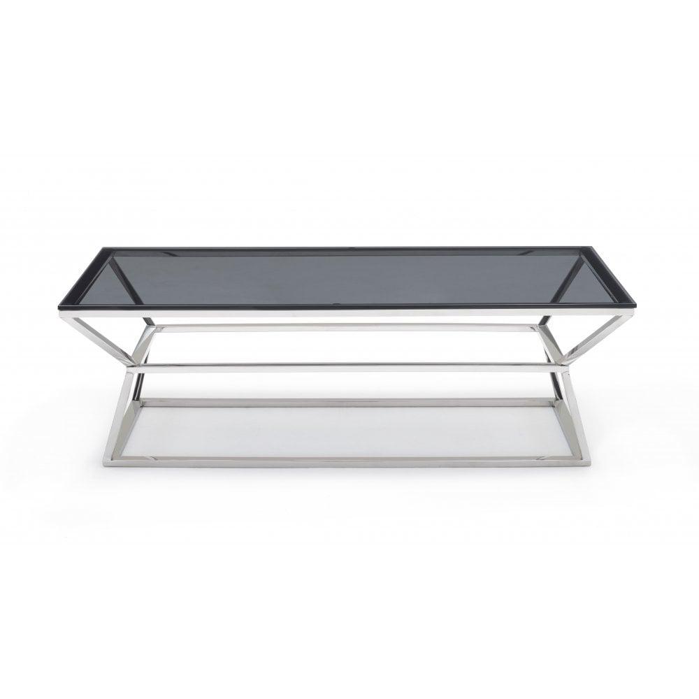 Kesterport Mercury Glass Coffee Table Smoked Glass Polished Steel
