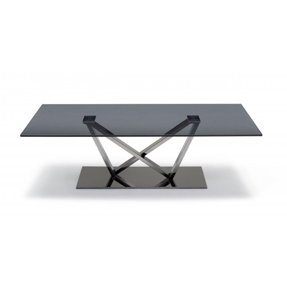 Kesterport Modish Glass Coffee Table Smoked Glass Polished Steel