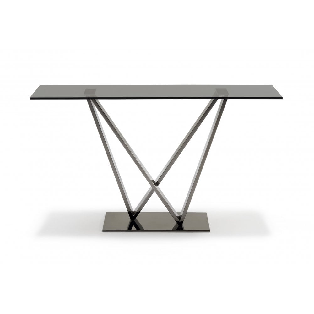 Terrific Mistral Glass Console Table Grey Smoked Glass Black Chrome Frame Ncnpc Chair Design For Home Ncnpcorg