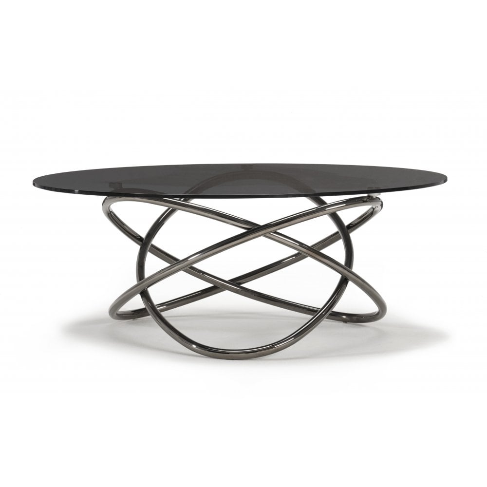 - Kesterport Pluto Glass Oval Coffee Table - Smoked Glass & Titanium