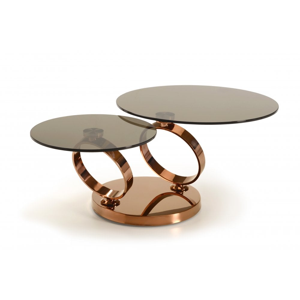 Extendable Glass Coffee Tables: Kesterport Rose Gold Extending Coffee Table