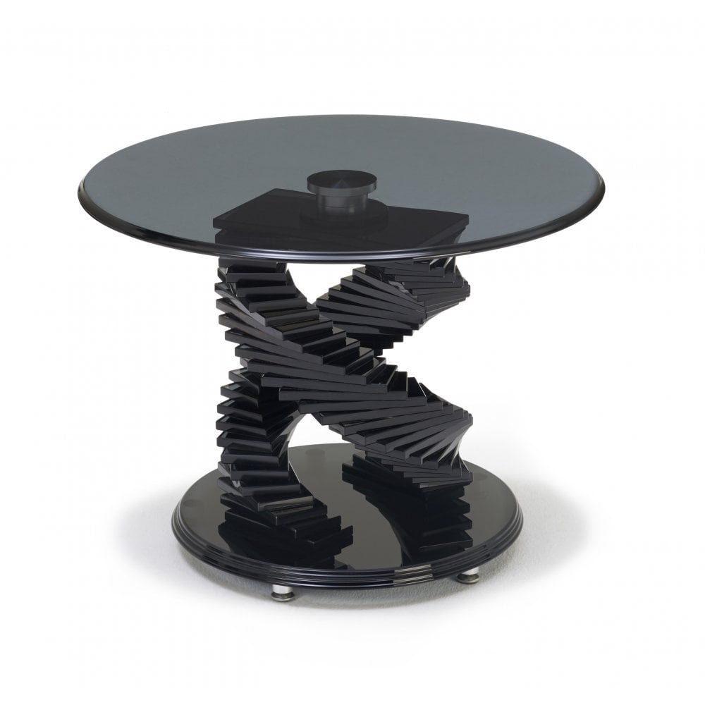 Kesterport Tango Round Lamp Table Smoked Glass Piano Black