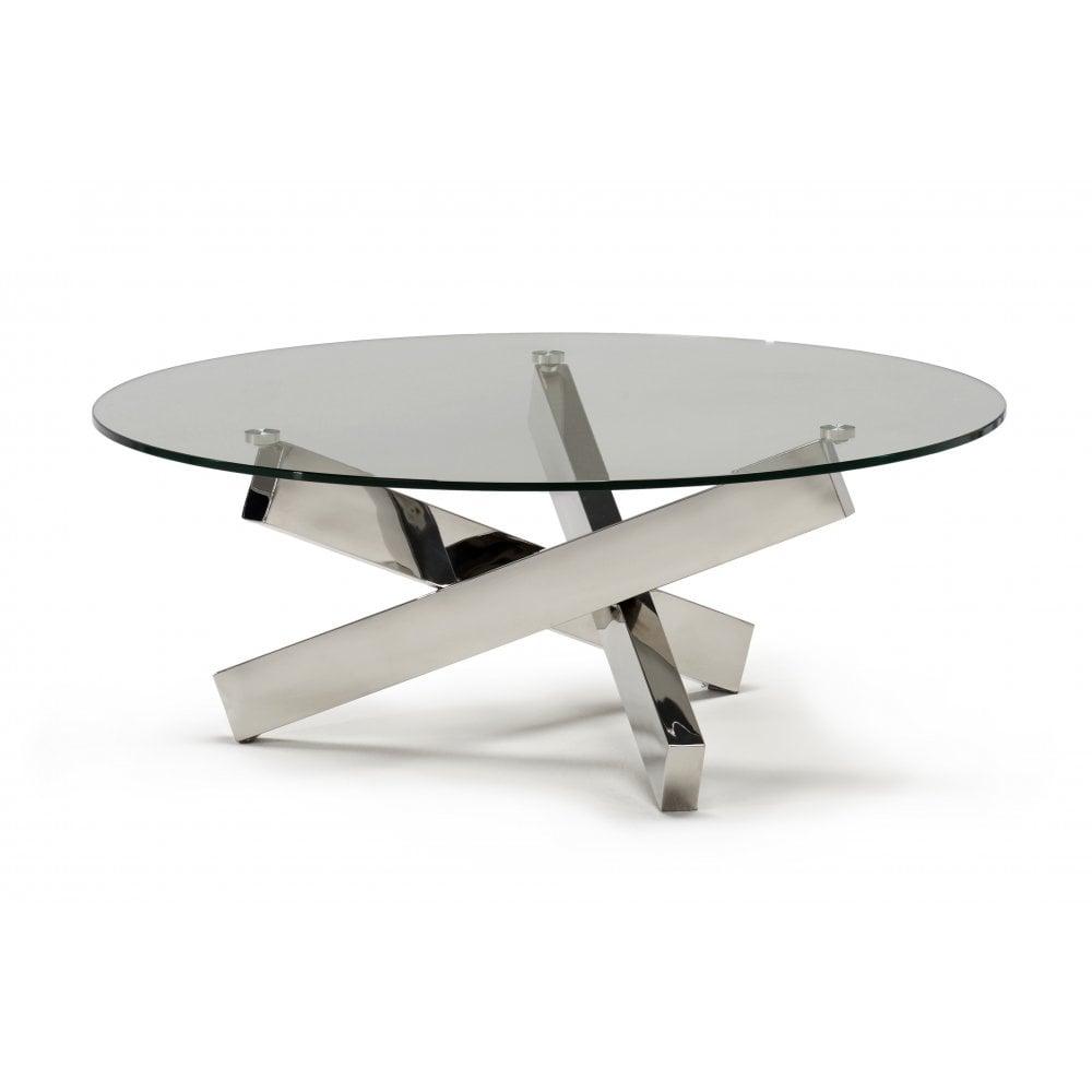 - Kesterport Tivoli Glass Round Coffee Table - Clear Glass & Steel