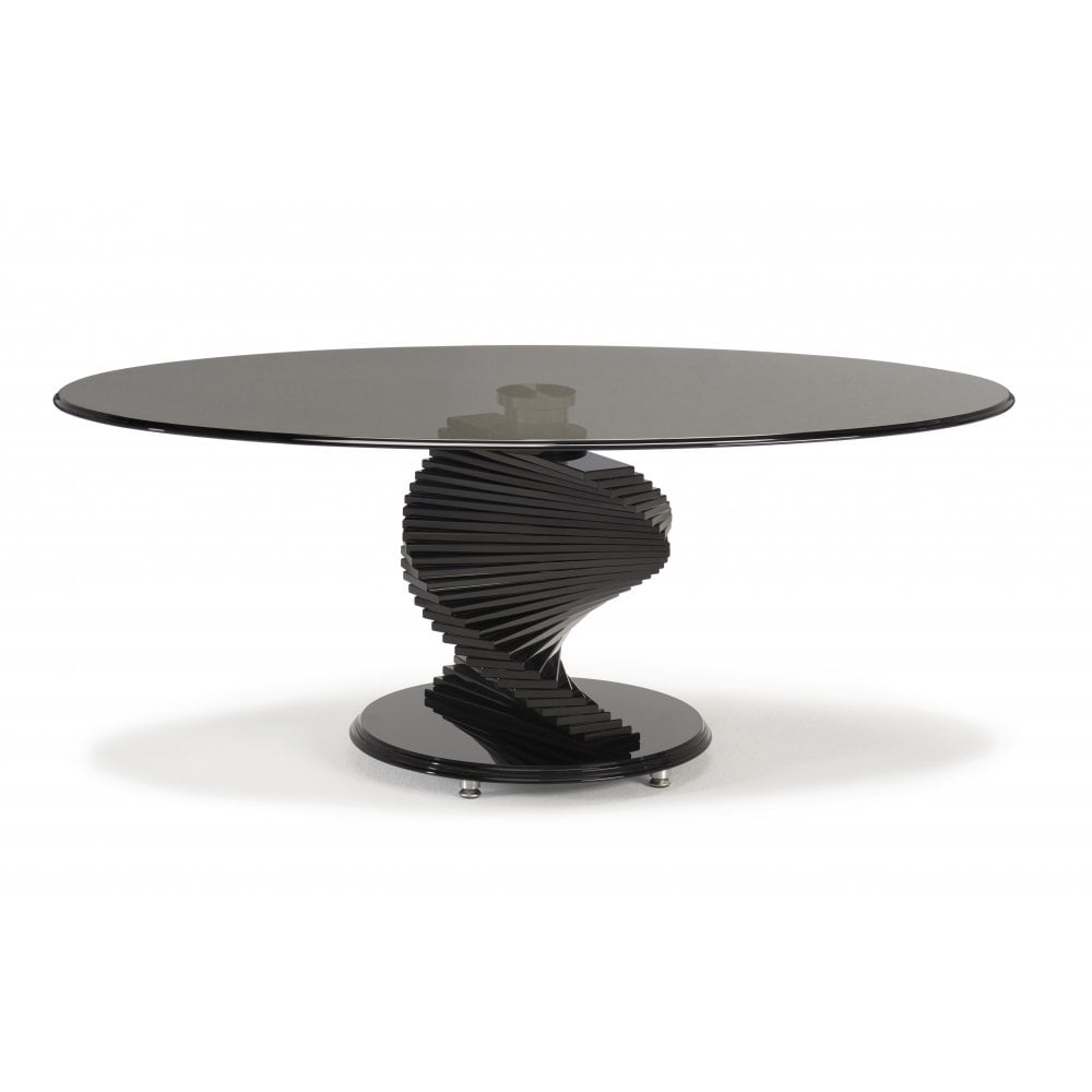 Kesterport Twister Oval Coffee Table Smoked Glass Piano Black
