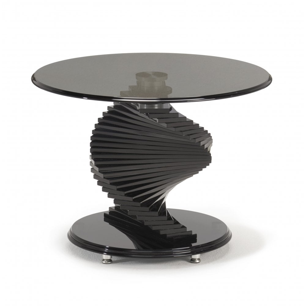 Kesterport Twister Round Lamp Table Smoked Glass Piano Black