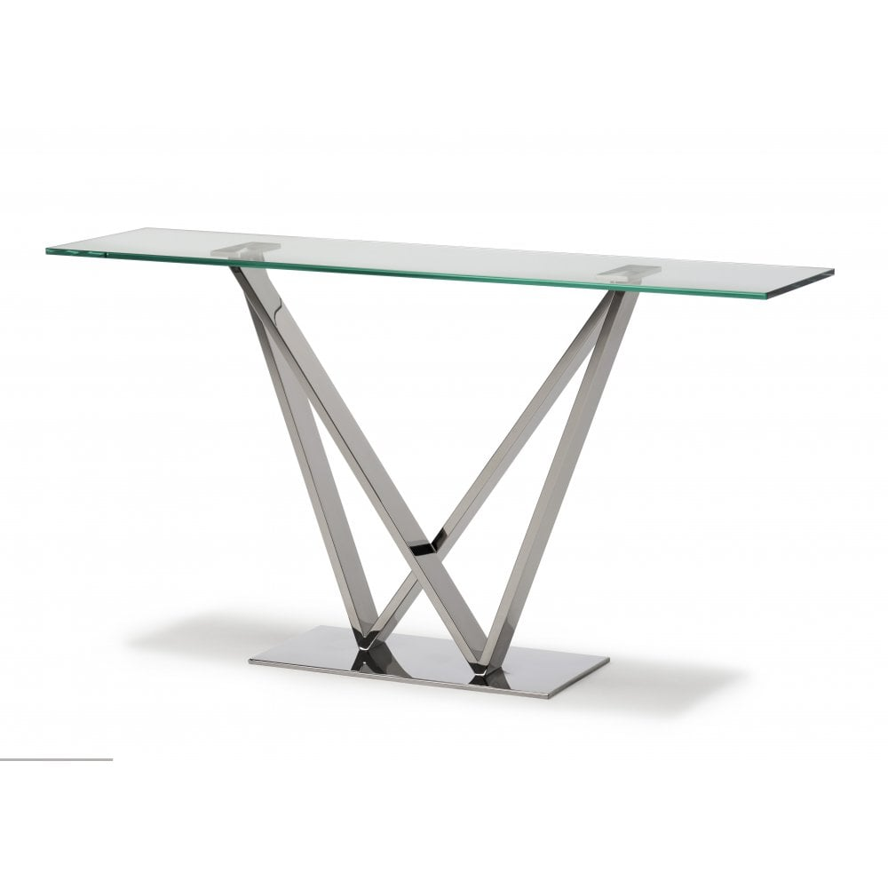 Enjoyable Westwind Console Table Clear Glass Polished Stainless Ncnpc Chair Design For Home Ncnpcorg