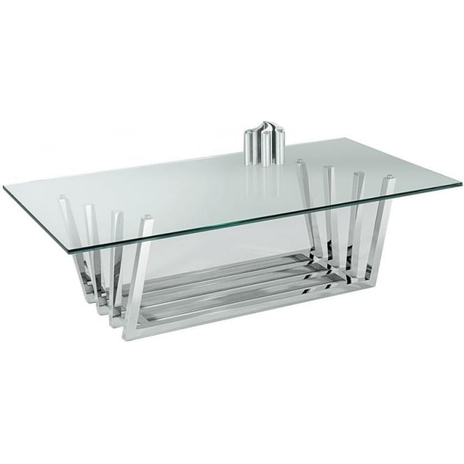 Nord Octave Rectangular Glass Coffee Table Chrome Framework