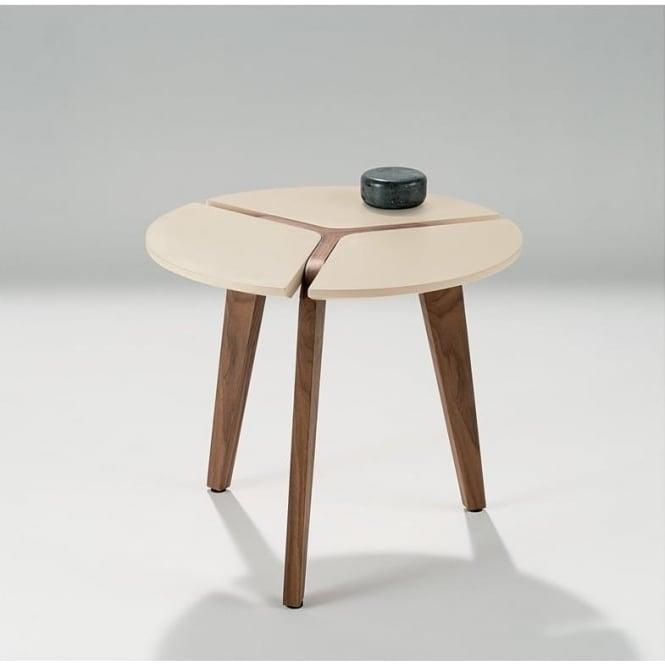 Nord design circular cream walnut lamp table design circular cream amp walnut lamp table aloadofball Images