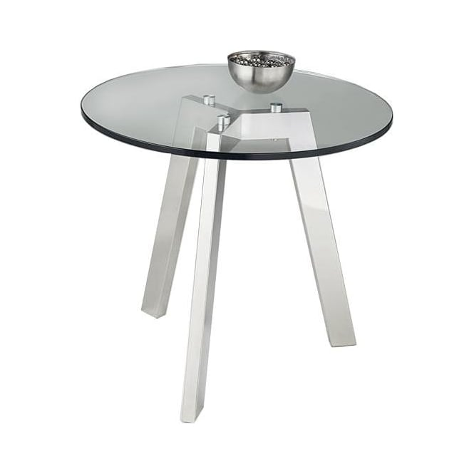 Nord Java Chrome Circular Glass Lamp Table