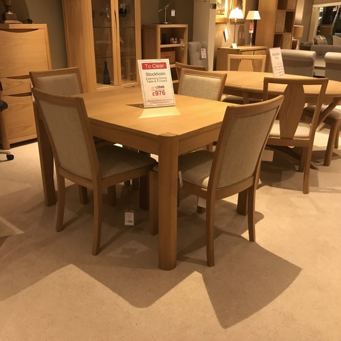 Clearance Dining Table: Winsor Stockholm Dining Table & 4 Chairs Clearance