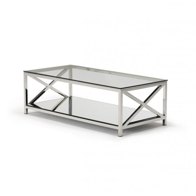 Kesterport Amiri Glass Coffee Table Glass Polished Stainless Steel